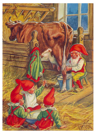 Elves in the barn milking a Cow - vintage holiday card