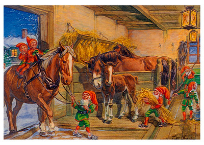 Elves & Horses in the Barn (vintage holiday card)