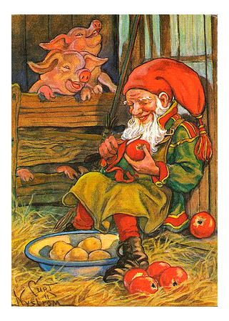 Elf peeling an Apple with two Pigs looking on - Vintage Image Greeting Card