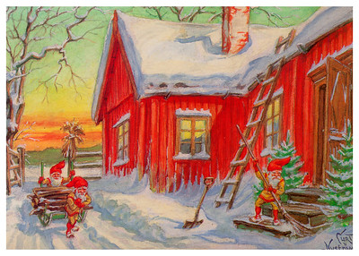 Vintage Image Greeting Card - Curt Nystrom, postcard artist
