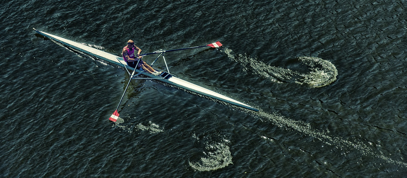 PD87 Single Sculler on Arno River, Spring, Florence, Italy