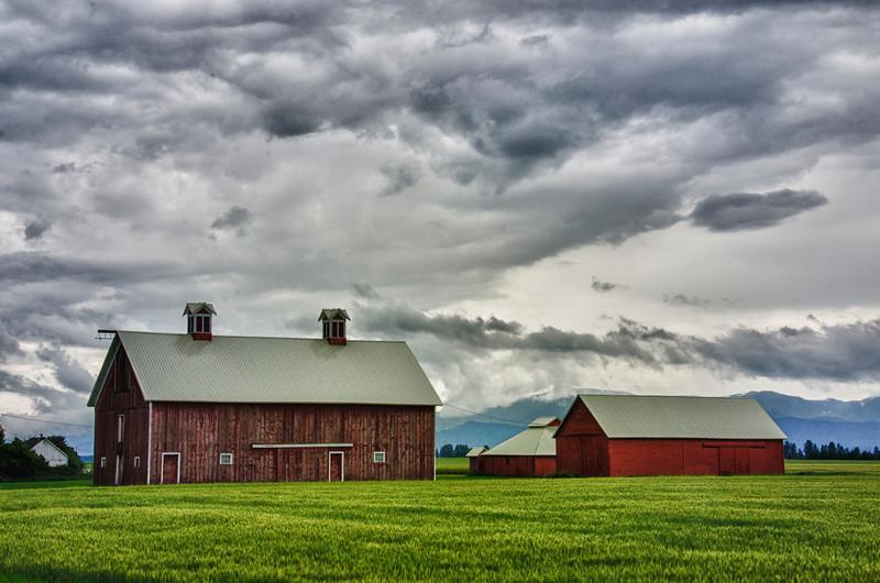 WBa422 - Barnes and Rain Clouds, Columbia Falls, Montana