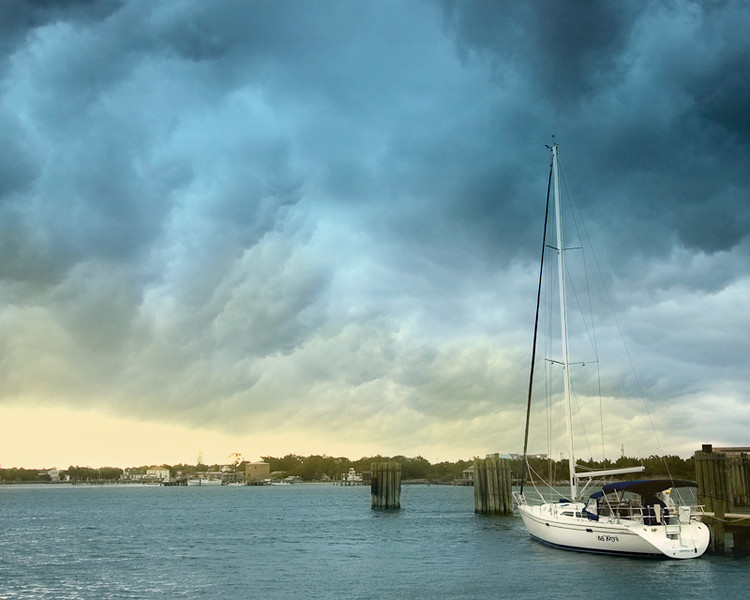 WBa396 - Silver Lake Storm & Boat, Ocracoke Is, NC