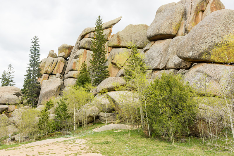 The fantastic rock formations and lovely spring green trees of Vedauwoo. Taken in the Medicine Bow - Routt National Forest, Wyoming, USA.