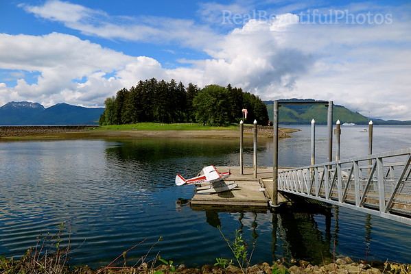 Small seaplane in the little Village of Hoonah, which is 35 miles west of Juneau across the Chatham Strait in Alaska.
