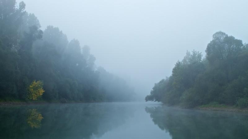 Windstille und Nebel am frühen Morgen - Altrhein, Bremengrund, Rheinstetten, Deutschland<br /> Calm and Fog early in the morning - Altrhein, Bremengrund, Rheinstetten, Germany