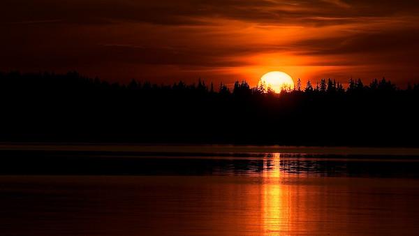Sonnenuntergang am Unden bei Tived - Västergötland, Schweden