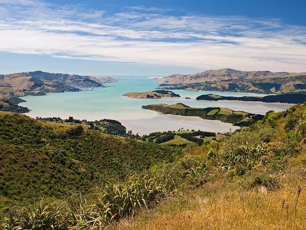 "TSS LytteltonH 001.5.jpg 0 15x20cm/6x8"" in stock  Lyttleton Harbour looking towards Diamond Harbour from Gebbes Pass South Island New Zealand"