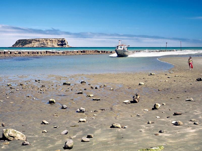 """TSS MotunauRvr 003.5.jpg<br /> 0 15x20cm/6x8"""" in stock<br /> Motunau River and Island South Island New Zealand"""