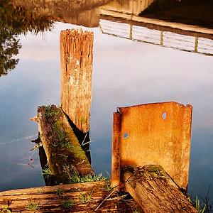 "TSNW WairoaRiver 002.JPG 0 x 10.8 x10.8cm/4x4"" in stock Old jetty near Bridge at Clevedon."