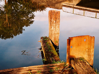 "TSNW WairoaRiver 001.5.jpg 0 x 15x20cm/6x8"" in stock Old jetty near Bridge at Clevedon."