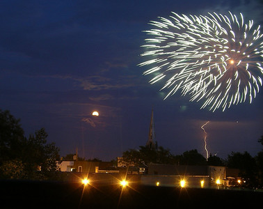 Yes, that is a full moon. And lightning. And fireworks. After all, it was July 1st!