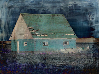 A shed in the country -- wrapped in blue to match my mood on that November day.