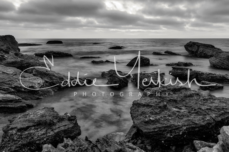 Black and White Sunset at Low Tide