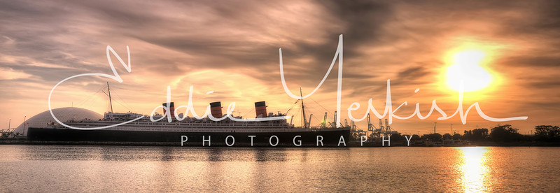 Queen Mary Sunset Panorama