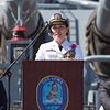 CDR Teresa Elders of the United States Navy gives an address at the 2016 Los Angeles ANZAC Day service on board the USS Iowa