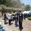 New Zealand Korean War veteran Mr Bob Keenan pays his respect at the New Zealand Memorail in Kapyong, South Korea on 24 April.