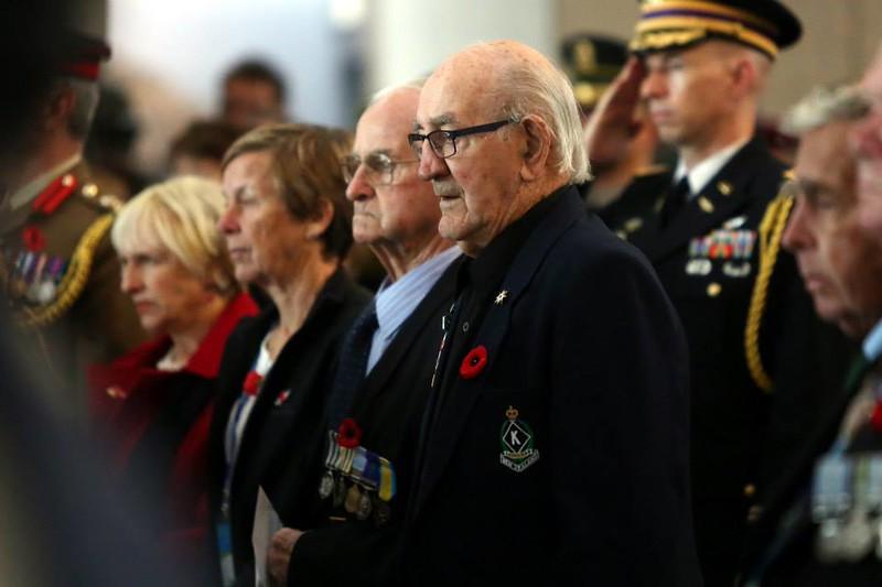 New Zealand Korean War veterans, Mr Hugh Blaikie and Mr Bob Keenan attend the Anzac Day dawn service in Seoul, South Korea on 25 April.