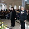 Ambassador Clare Fearnley pays her respect at the Anzac Day dawn service in Seoul, South Korea.