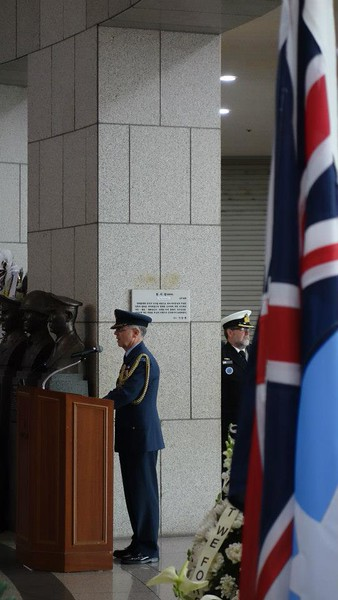 Group Captain Rod Fortune, NZ Defence Attache in Seoul makes closing remarks at the Anzac Day dawn service.
