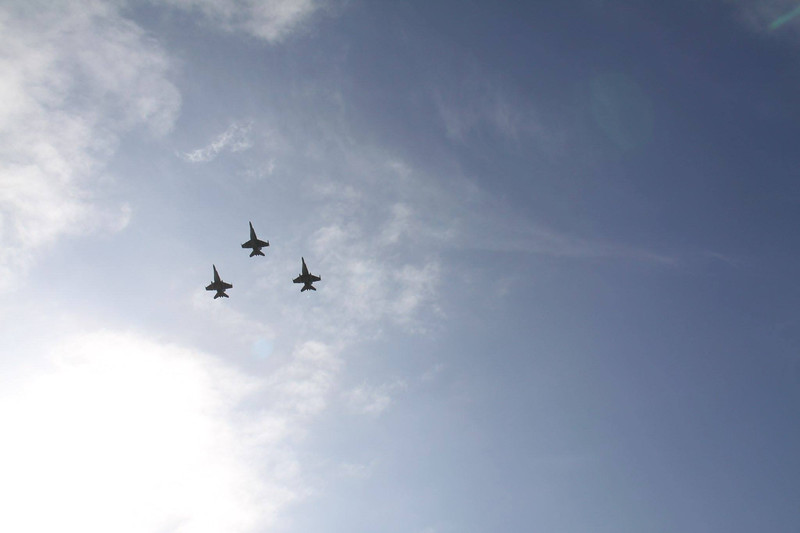US Airforce F-18 flyover at ANZAC Day 2015 Service on board the USS Midway in San Diego