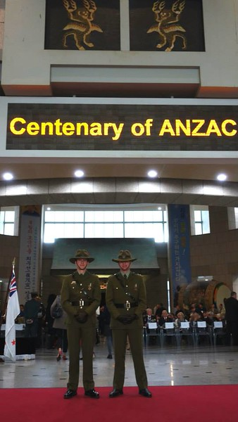 NZ Army Officers, Lieutenants Damian Jaques and Joshua Richie stand in the hall of the War Memorial before the Anzac dawn service in Seoul.