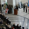 Ambassador Clare Fearnley delivers commerative remarks at the Anzac Day dawn service in Seoul on 25 April.