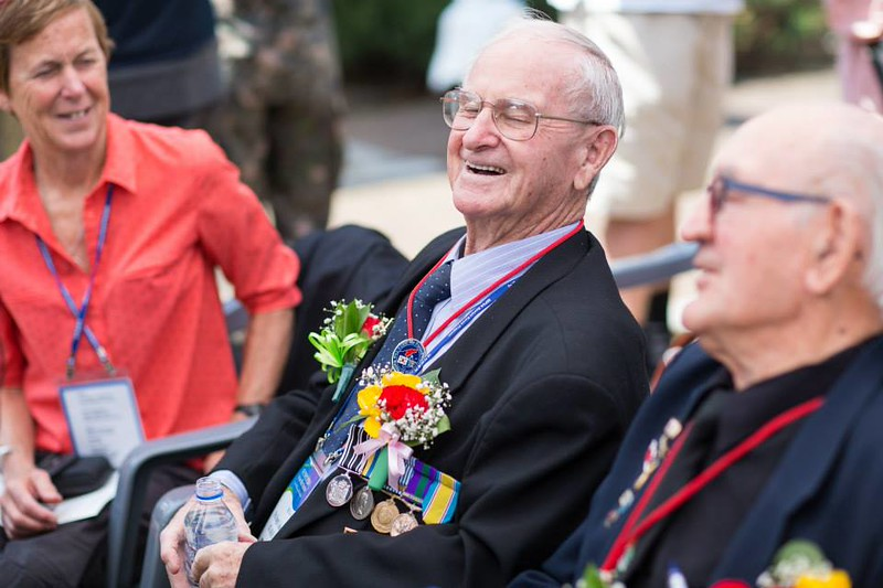 New Zealand Korean War veterans, Mr Hugh Blaikie (centre) and Mr Bob Keenan (right) at the Kapyeong memorial ceremony at 24 April, South Korea.