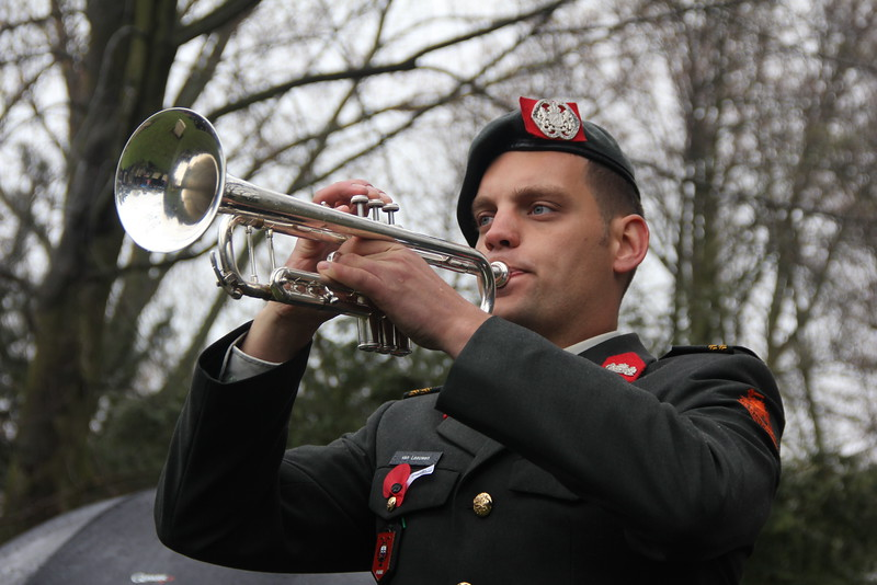 Dutch Army Bugler sounds the Last Post at the Anzac Day Commemoration at Westduin Cemetery in The Hague