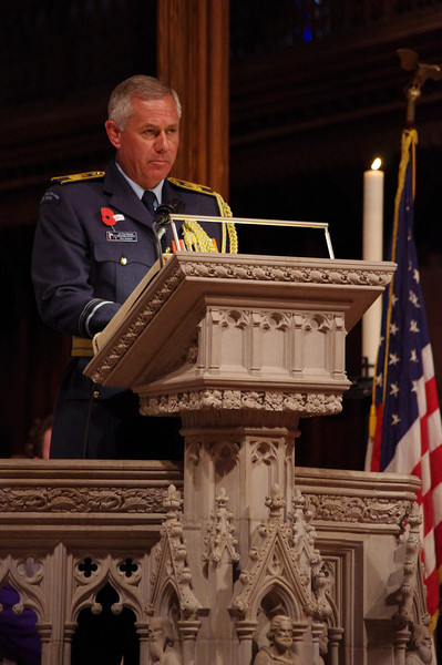 New Zealand Embassy Defence Attache Air Vice Marshall (AVM) Graham Lintott reads the scripture at the Anzac Day 2013 Commemorative Service at the Washington National Cathedral in Washington. Credit Mike Waller