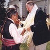 Sir Edmund Hillary shakes hands with a local woman at the 50th Anniversary of his Mt Everest ascent, Nepal. Credit: New Zealand Ministry of Foreign Affairs and Trade