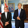 Foreign Affairs Minister Murry McCully and US Secretary of State John Kerry. New Zealand week in Washington 2013. Credit Ministry of Foreign Affairs and Trade