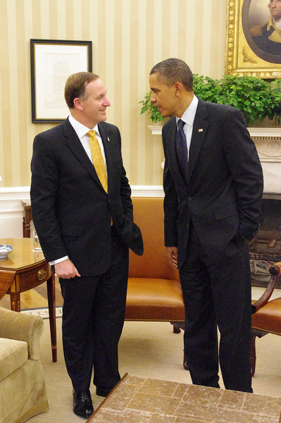 New Zealand Prime Minister, Rt Hon John Key meets with U.S President Barack Obama at the Oval Office, 22 July, 2011, Washington D.C, United States. Credit: Mike Waller