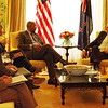 New Zealand Prime Minister, John Key meets with U.S Trade Representative, Ambassador Ron Kirk on his official visit to the U.S, 2011. Credit: Mike Waller