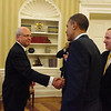 New Zealand former Prime Minister and current New Zealand Ambassador to the U.S Rt Hon Mike Moore shakes U.S  President Obama's hand following the U.S President's meeting with New Zealand Prime Minister Rt Hon John Key at the Oval Office, 22 July, 2011, Washington D.C, United States. Credit: Mike Waller