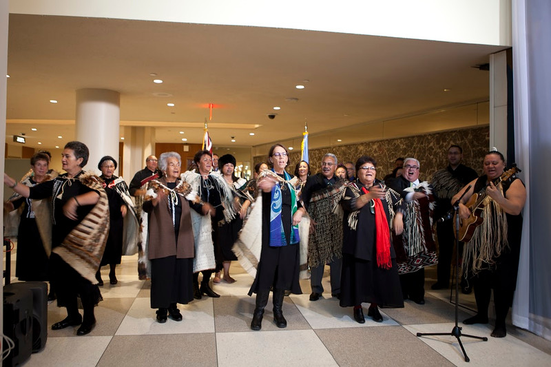 Forty-three beautiful tukutuku (woven wall panels) have been unveiled today at the United Nations Headquarters in New York. <br /> The panels become part of New Zealand's 1952 founding gift to the United Nations, the rimu New Zealand Wall, which stands at the entrance to the General Assembly Hall, showing Aotearoa New Zealand's unique cultural heritage and identity. They will be seen by thousands of visitors from all over the world. <br /> A group of the weavers from Te Roopu Raranga Whatu o Aotearoa (National Collective of Maori Weavers in New Zealand) were in New York today to unveil the panels. <br /> The tukutuku for the UN include the poutama (stairway to the heavens) and niho taniwha (taniwha's teeth), as well as the silver fern, Anzac poppy, and kiwi.<br /> 23/02/2015