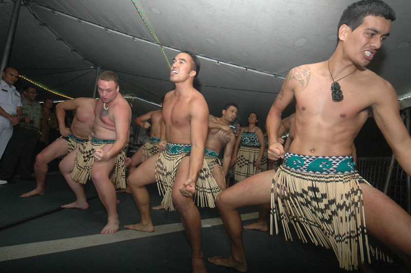A haka is performed by the New Zealand Navy crew on the HMNZS Te Mana, during a visit to Jakarta in June 2011