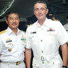 Deputy Security Assistance Agus Heryana to the Navy Chief of Staff and Commander John Butcher aboard the HMNZS Te Mana during a visit to Jakarta in June 2011.