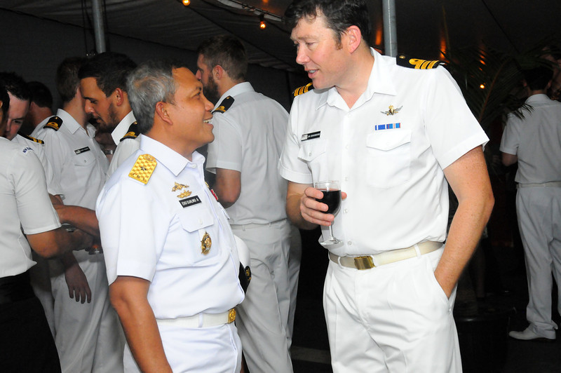 Commander Jonathan Beadsmoore with Eko Djalmo, Head of the Security Service of the Indonesian Navy, aboard the HMNZS Te Kaha during a visit to Jakarta in November 2011