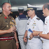 Tony Hill with Indonesian Navy Officers from the Western Fleet aboard the HMNZS Te Mana for a cocktail party during a visit to Jakarta in June, 2011.
