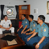The Indonesian Western Fleet Navy Officers meets with Commander Jonathan Beadsmoore aboard the HMNZS Te Kaha in Jakarta, November 2011.