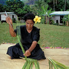 Woman weaving. NZODA Ecotourism programme 1997, Bouma and Koroyanitu National Heritage Parks, Fiji. Credit: New Zealand Ministry of Foreign Affairs and Trade