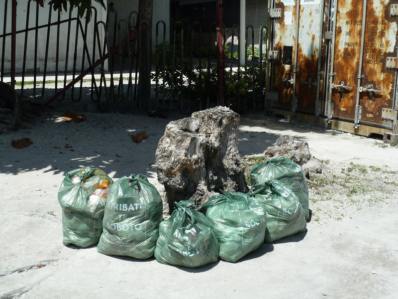 The green rubbish bag collection system in Tarawa, Kiribati. Credit New Zealand Ministry of Foreign Affairs and Trade