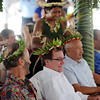 Foreign Minister Murray McCully and Government representatives receive floral head garlands at an official welcome during their Pacific Mission visit, 2010, Christmas Island (Kiritimati). Credit:Ross Setford / NZPA