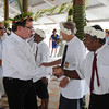 Foreign Minister Murray McCully and Government representatives village elders at an official welcome during their Pacific Mission 2010, Christmas Island (Kiritimati). Credit:Ross Setford / NZPA