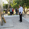 Foreign Minister Murray McCully lays a wreath at the Betio Coastwatchers Memorial to New Zealanders killed on the island in the Second World War, Tarawa, Kiribati, 2010. Credit:NZPA / Ross Setford.