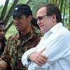 Foreign Minister Murray McCully meets with New Zealand defence staff during a vist to RAMSI Base, Honiara, Solomon Island's, 2010. Credit:NZPA / Ross Setford