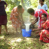 Palm Project - pouring the first soap. Funded by the New Zealand Aid Programme KOHA fund. Credit: Palm Project and NZCHET (New Zealand Children's Health Education Trust)