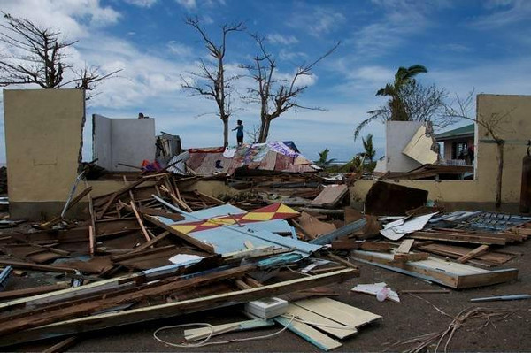 Damage in Samoa following Cyclone Evan, 2010.