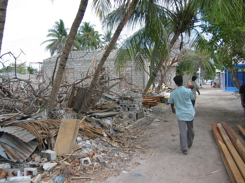 Damage in the Maldives caused by the Asian Tsunami, Boxing Day 2004. Credit: Red Cross